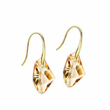 Sparkly Shiny Austria Crystal Champagne Yellow Drop Dangle Gold Plated Earrings