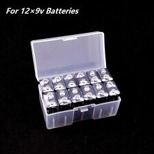 12×9v Batteries Clear Transparent Battery Storage Box Case Holder Container BL04