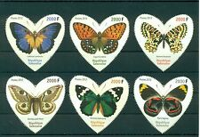 Gabon Butterflies Schmetterlinge Insects 6 MNH heart-shaped stamps set