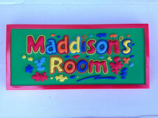 """BNIP Girls Bedroom Door/Wall Sign """"Maddison's Room"""" Pack of 3 PVC Sign Plaques"""