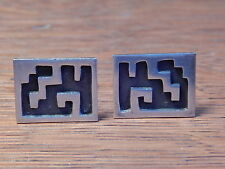 Vintage Mexico 925 Sterling Silver Geometric Design Signed Cufflinks