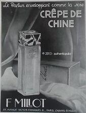 PUBLICITE PARFUM F. MILLOT CREPE DE CHINE COMME DE LA SOIE DE 1929 FRENCH AD PUB