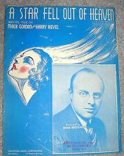 1936 A STAR FELL OUT OF HEAVEN Sheet Music ANDRE KOSTELANETZ by Gordon, Revel