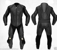 BLACK 1PC MOTORBIKE 100% COWHIDE LEATHER SUIT RACING BIKER SUIT CE ALL SIZES