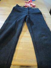 Woolrich Vintage Gray Striped Wool Blend Hunting Winter Pants Red Suspenders 32