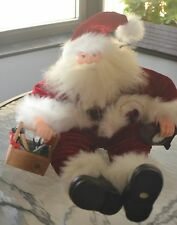 SANTA SHELF SITTER HOLDING TOOL BOX AND CLOCK ABOUT 18 INCHES TALL