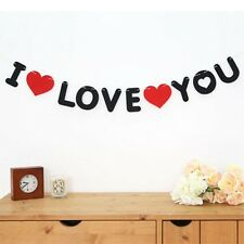 Art Design Black and Red Non-woven I LOVE YOU Propose Decoration Wedding
