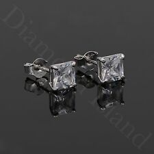 0.5 CT SQUARE EARRINGS 14K SOLID WHITE GOLD BASKET STUDS PRINCESS BRILLIANT CUT