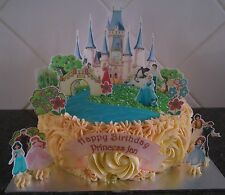 Edible Disney Princess Castle Cake Toppers Girls Birthday Party Decoration