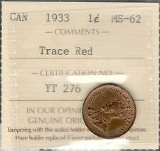 1933 Small Cent Certified CHOICE MS Trace RED ** Razor SHARP King George V Penny