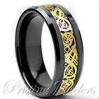 Black Tungsten Carbide Gold Celtic Dragon Ring Mens Jewelry Wedding Band 8mm 6mm