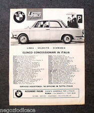 O450 - Advertising Pubblicità -1963- BMW , ELENCO CONCESSIONARI IN ITALIA