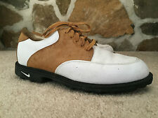 Nike Air Men's Golf Shoes - Size 8 - White & Brown Leather Saddle Shoe Styl