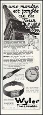 Publicité Montre WILER La Tour Eiffel  Watch photo vintage print ad  1931  - 10h