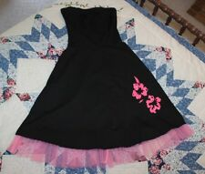 Rue 21 WOMENS SMALL Black Pink Hibiscus & Crinoline Party Sun Dress Sundress