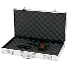 Large Aluminum Padded Storage Pistol Case, Locking Carry Handgun Protector Safe
