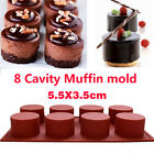 8 Cavity Round Cylinder Silicone Handmade Soap Mold Chocolate DIY Muffin Cups