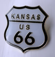 ZP12 Classic Kansas Route 66 Shield Enamel Lapel Pin Badge Biker Motorcycle