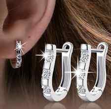 1Pair silver plated White crystal rhinestone Women's Hoop Earrings HS81