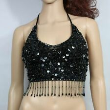 Sexy Sequined Flower Belly Dancer Costume Dance Tops Bra Dancing Appare One Size