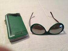 Vtg MARTIN SNO Mirror Lens Sunglasses Aviator Red White Green Ski Original Case