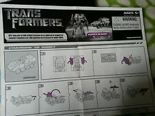Transformers MOVIE WRECKAGE INSTRUCTION BOOKLET FREE S/H