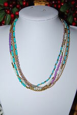 BEAUTIFUL NECKLACE MAUVE GREEN WHITE GOLD SMALL BEADS & GOLD TONED METAL CHAINS