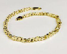 """14kt solid gold handmade NUGGET link chain/bracelet 8.5"""" 11 grams 4 MM"""