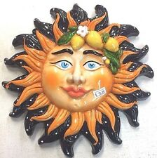 Sicilian Pottery-10 In. Sun Face Caltagirone.Made/Painted by hand in Italy