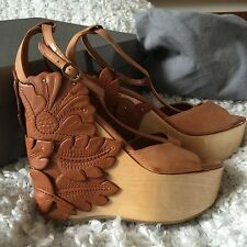 Womens Alexander McQueen Tan Oregon Calf Leather T Bar Wedge Sandals UK 5 IT 38