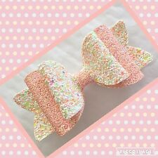 Peach Melba Layered glitter fabric Hair Bow Clip Bobble 5""