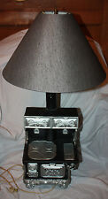 Vintage Arnel's Ceramic Black & Silver Old Fashion Comfort Cook Stove Lamp