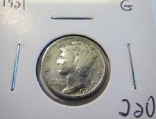 "1921 Mercury Silver Dime ""G"" Semi key Lot 220"