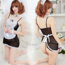 XD#3 Sexy Lingerie Women French Maid Costume Fancy dress Cosplay Outfit Unifor