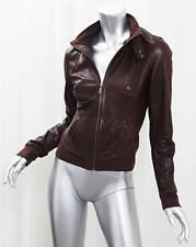 ARMA COLLECTION Brown Leather Zip Front Lightweight Jacket sz. 38 Small