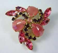 JULIANA D&E DeLizza Elster Pink Art Glass Rhinestone Pin/Brooch FREE SHIPPING!