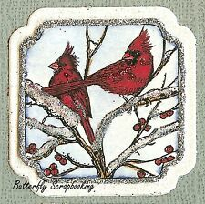 WINTER BIRDS CARDINALS Wood Mounted Rubber Stamp NORTHWOODS C9869 New