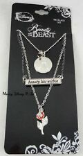 New Disney Beauty and the Beast Beauty Lies Within 3 Layer Rose Pendant Necklace