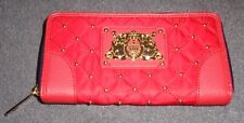 Juicy Couture Malibu Red Quilted Studded Nylon Zip Wallet YSRUO185 NWT S/O $90