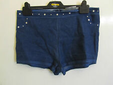 Blue Stretch Denim Style Hot Pants / Shorts in Size 14 with Silver Star Studs