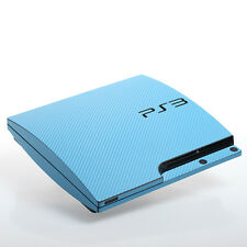 Light Blue Carbon PS3 slim Textured Skins -Full Body Wrap- decal sticker cover