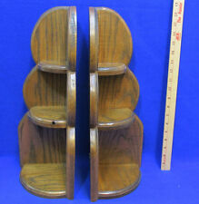 2 Vintage Wood Corner Wall Table Shelf Wooden 3 Tier Display Oak Dark Brown