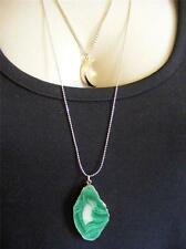 $18 Nordstrom Gilded Green Stone Double Layer Crescent Moon Pendant Necklace