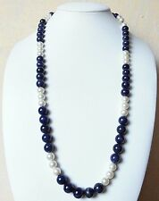 Edelsteinkette Sodalith / Perlen Collier 63cm Halskette 9-11mm Perlen -True Gems