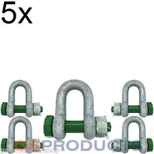 5x 4.75 ton Galvanised Steel Safety D Shackle with Safety Nut & Bolt Pin