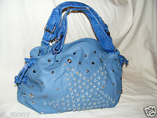 Women Blue Shoulder Hobo Bag Faux Leather Studs Zipped Size XLarge