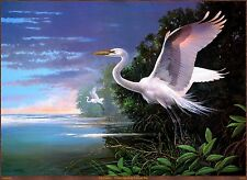 "oil painting printed on canvas A0443-- White Egrets at Pelican Bay  18""x24"""