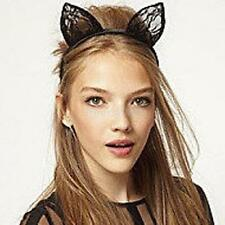 Fancy Dress Costume Black Wired Lace Cat Ears Halloween Headband Hen Night