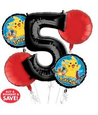 Pokemon 5th Birthday Balloon 5pk Helium Balloon Bouquet Display