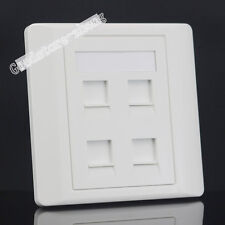 Wall Socket 4 Port Network LAN CAT6 RJ45 & Three RJ11 Telephone Panel Faceplate